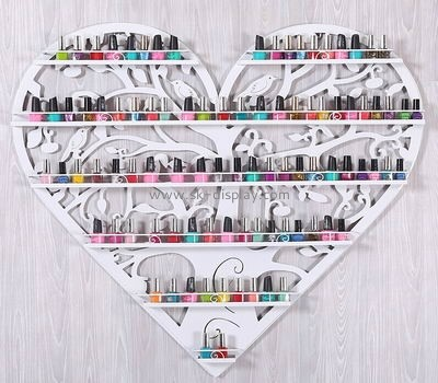 Heart shaped metal wall mount nail polish display CO-027