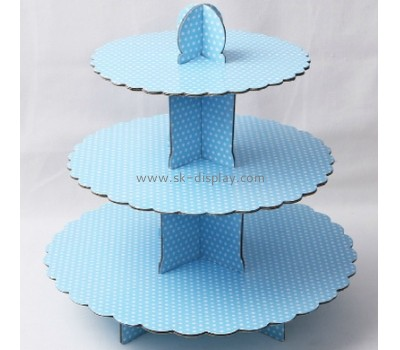 Blue three layer hard cardboard display stand CDS-005