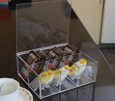 Clear acrylic storage box with six small divided box for tea bag and coffee bag FD-031