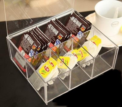 Acrylic tea bag and coffee storage box with lid and dividers FD-039