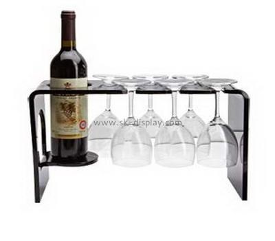 Black acrylic display holders for one wine bottle and six glass cups WD-036