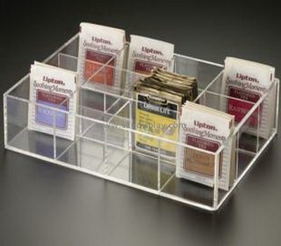 Elegant clear acrylic tea bag display box with dividers FD-049