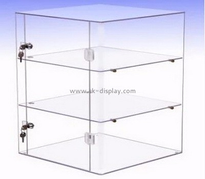 3 tiers clear acrylic display case with key DBS-048