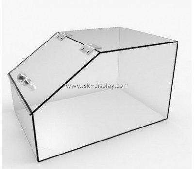 Custom design plastic food storage container acrylic storage box transparent plexiglass box with hinge and lid FD-088