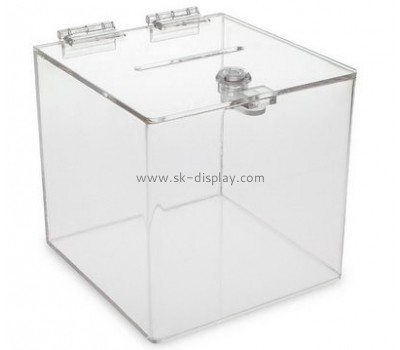 Acrylic box factory customize acrylic fundraising boxes with hinged lids DBS-290