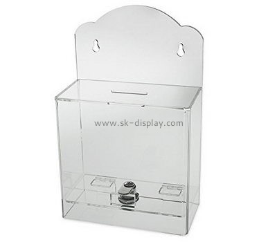 Acrylic factory custom designs charity collection boxes for sale DBS-327