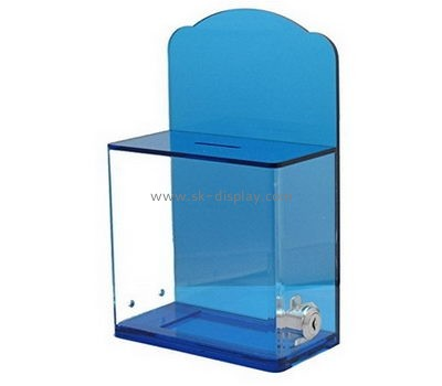 Plastic suppliers custom plexiglass lockable donation boxes DBS-405