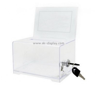 Acrylic manufacturers custom plastic fabrication charity boxes DBS-436