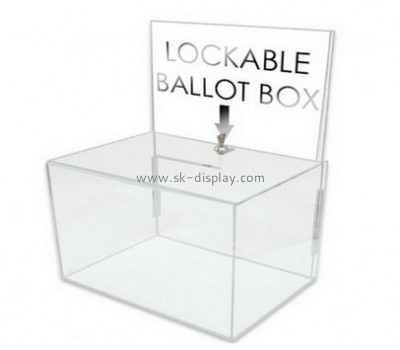 Acrylic plastic supplier custom lucite charity box DBS-451