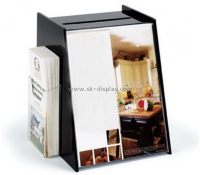 Acrylic display supplier custom black ballot box with sign holder DBS-469