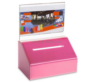 China acrylic manufacturer custom charity donation collection boxes DBS-486