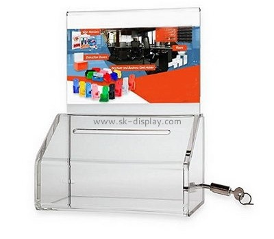 Acrylic products manufacturer custom donation boxes with locks DBS-490