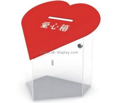 Display manufacturers custom heart shaped donation box DBS-497