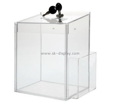 Acrylic items manufacturers custom perspex donation box with lock and sign holder DBS-521