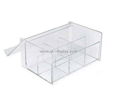 Plastic distributors and fabricators custom acrylic multi compartment storage box DBS-581