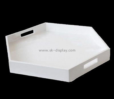 Bespoke white acrylic serving platter with handles STS-011
