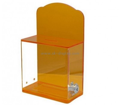 Bespoke acrylic clear donation box with lock DBS-727