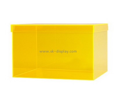 Customize yellow plexiglass box with lid DBS-757