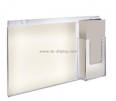 Customize acrylic sign holder with brochure pocket BD-774