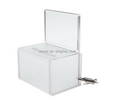 Customize acrylic donation box with lock DBS-998