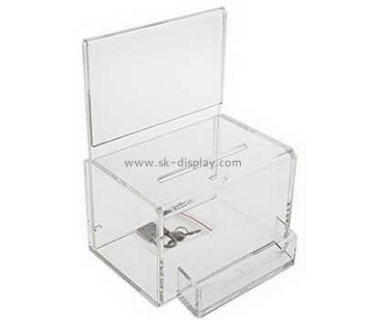 Customize acrylic collection boxes for fundraising DBS-1004