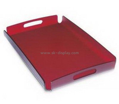 Customize red acrylic serving tray with handles FD-239
