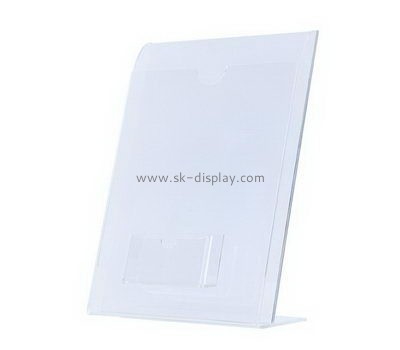 Custom slanted acrylic sign stands with business card holder BD-985