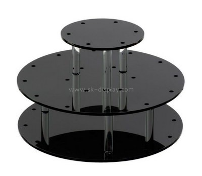 Custom 3 tiers round black acrylic cake display stands FD-276