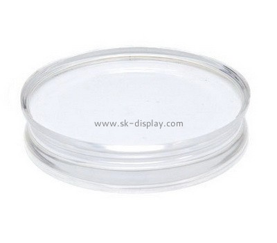 Custom round acrylic stamp block with finger groove AB-030