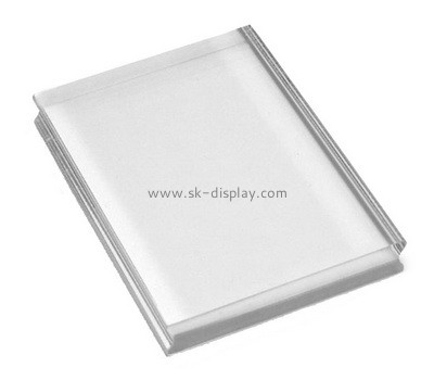 Custom clear pexiglass stamp block with finger groove AB-053