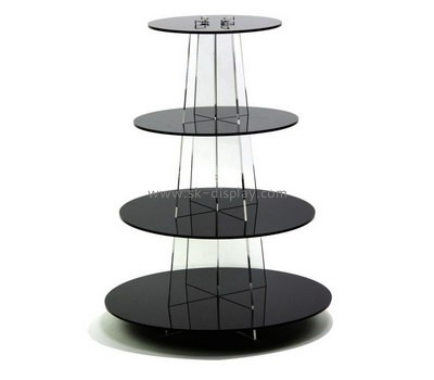 Custom round black acrylic cake display stands FD-309
